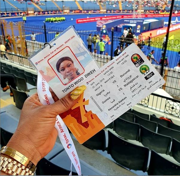 Photos Of Tonto Dikeh At Stadium To Watch African Cup Of Natiom