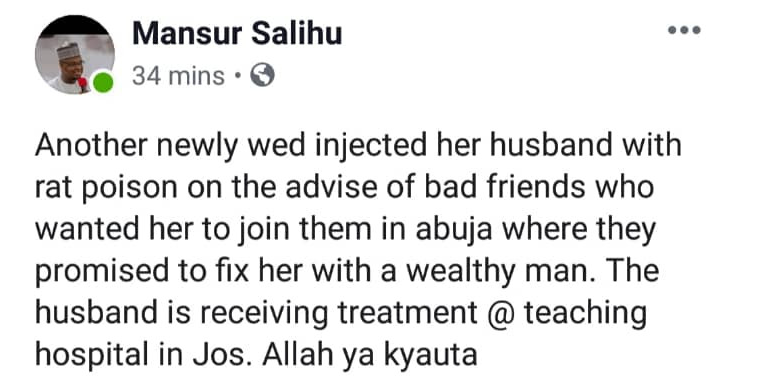 Wife Allegedly Injects Hubby With Rat Poison In Kaduna