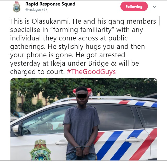 RRS Arrests Man Who Hugs His Victims Before Stealing Their Phones (Photo)