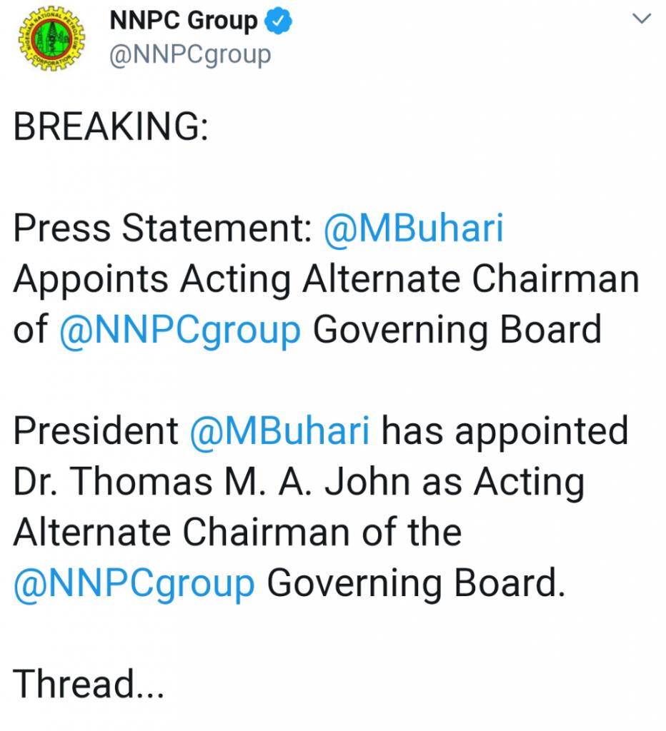 President Buhari Appoints Dr Thomas John As Chairman Of NNPC