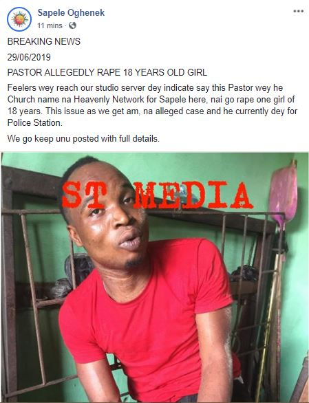 Heavenly Network Pastor Arrested For Raping 18-Year-Old Girl In Sapele (Picture)