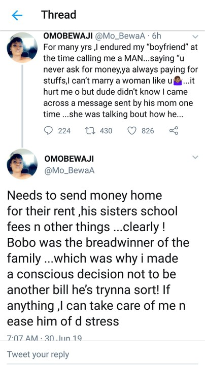 WIFE MATERIAL:- I Never Compel My Boyfriend To Pay My Bills – Lady Revealed