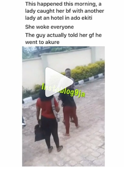 YAWA: A Lady Dragged Her Boyfriend Out Of Hotel Room With Another Girl