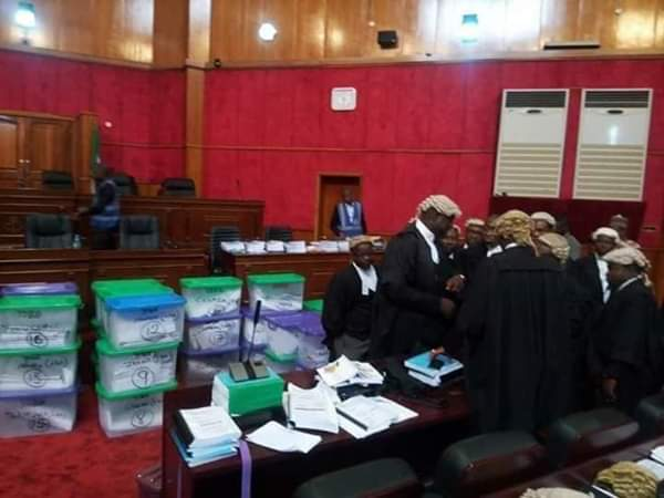 Atiku's Legal Team Storms Tribunal With 50 Boxes Of Election Materials (Photos)