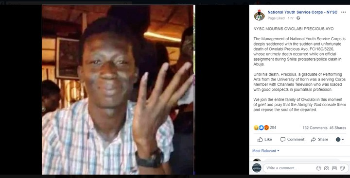 BREAKING; – NYSC Mourns Owolabi Precious Ayo On Facebook