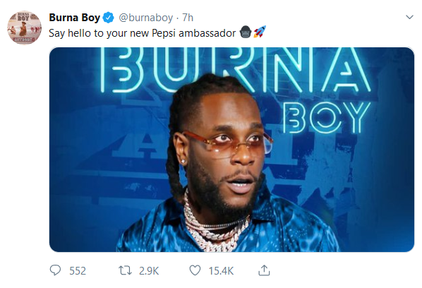 CONGRAT!! Burna Boy BIs Now Pepsi's New Ambassador