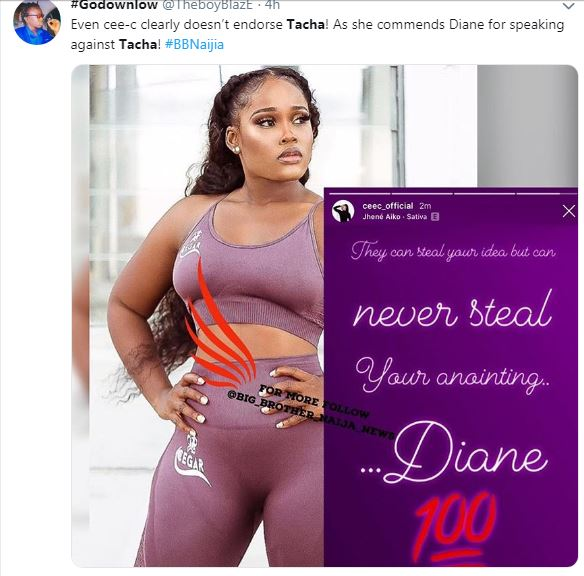 BIG BROTHER NAIJA 2019:- Cee-C Commends Diane For Speaking Against Tacha