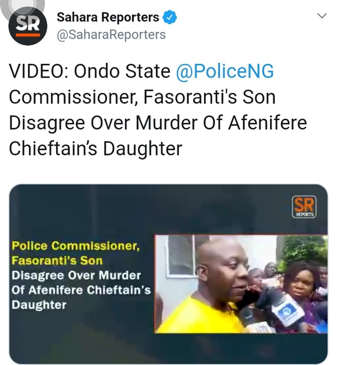 Fasoranti's Son Disputes Police Claim And Insists Fulani Herdsmen Killed Sister