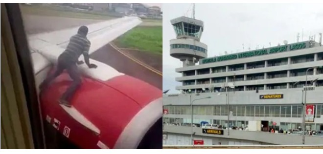 LOLZ: Man Climbed OnTop Aeroplane At Lagos Airport