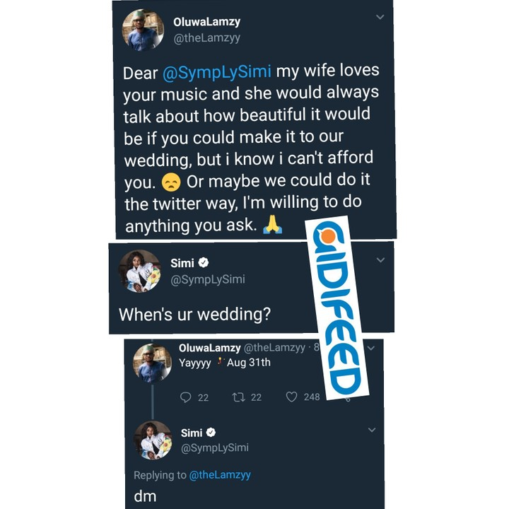 WHY Simi Promises To Attend A Twitter User's Wedding For Free