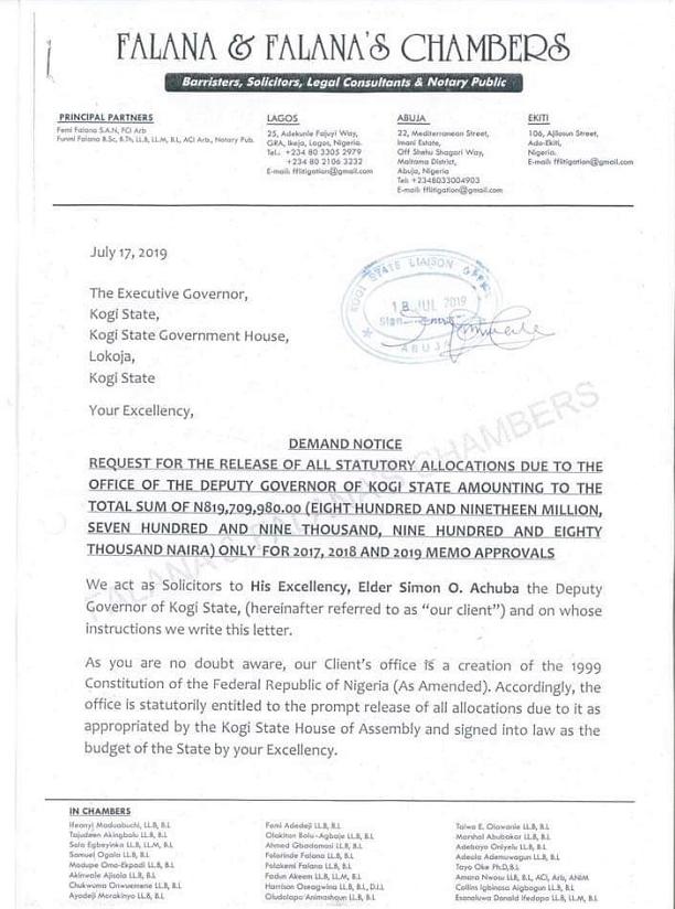 Kogi Deputy Governor To Sue Yahaya Bello Over N819m Unpaid