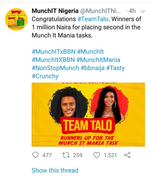 Bbnaija: Tacha And Elozonam Win ₦1 Million As 1st Runner-Up From