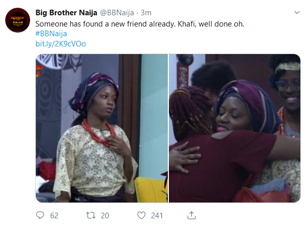 BBNaija 2019:- Khafi Welcome Cindy In The House With A Warm Hug