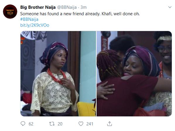 BBNaija 2019:- Khafi Welcome Cindy In The House With A Warm Hug