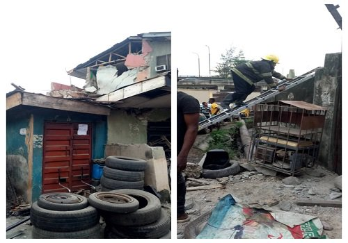 2-Storey Building Partially Collapses In Gbagada, Lagos (Photo)