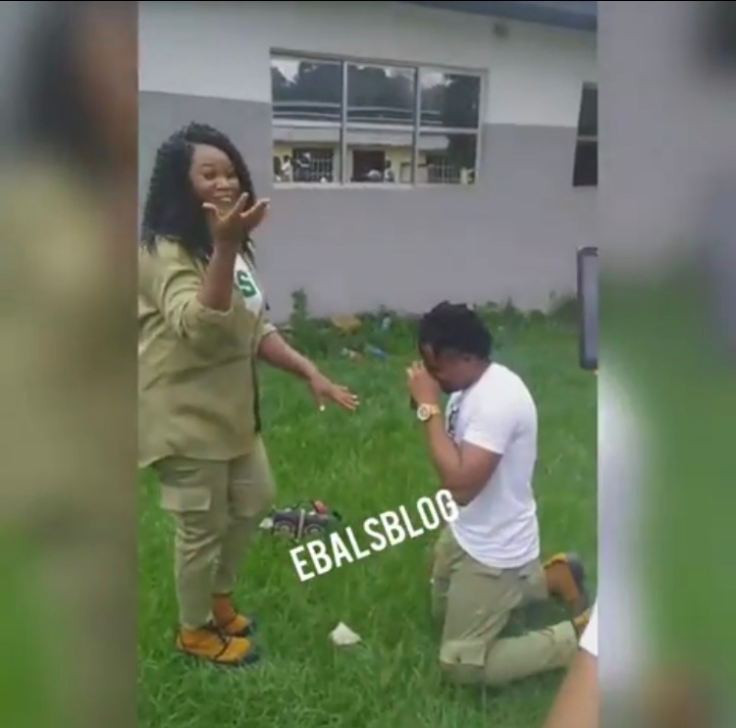Lol!!  NYSC, Corper Pranks His Girlfriend With A Fake Proposal (Photos)