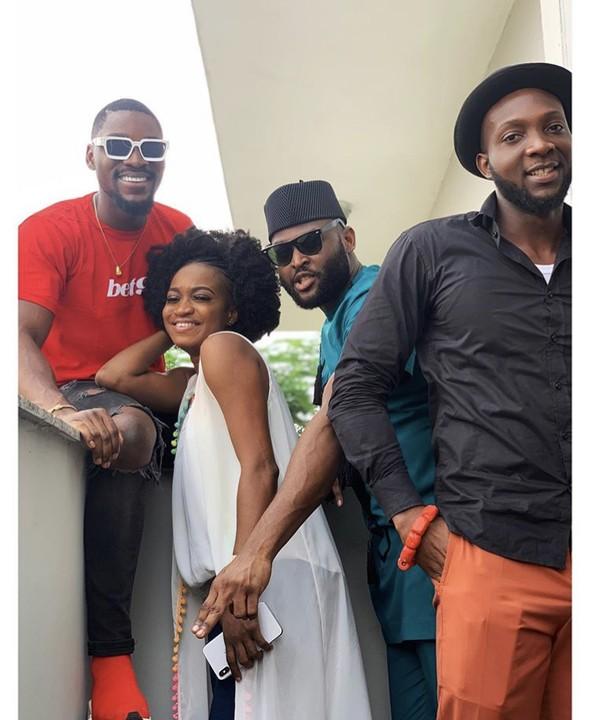 Tobi Bakre Pictured With BBNaija 2019 Ex Housemates, Thelma, Nelson And Tuoyo