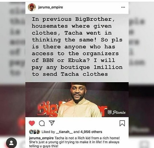 BBNaija 2019:- I'm Willing To Pay N1m To Boutique That Will Send Clothes To Tacha – Jaruma