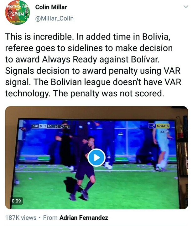 LEAGUE Pics As Referee Sparks Chaos After Using Fake VAR To Award Penalty