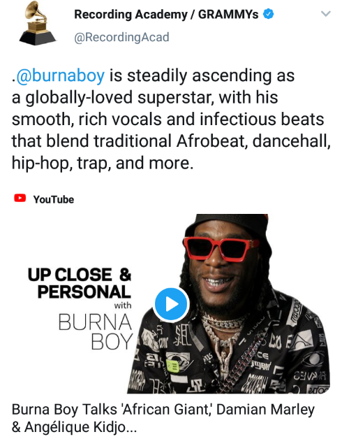 """Burna Boy Steadily Ascending As A Globally-loved Superstar"" – Grammys 2"