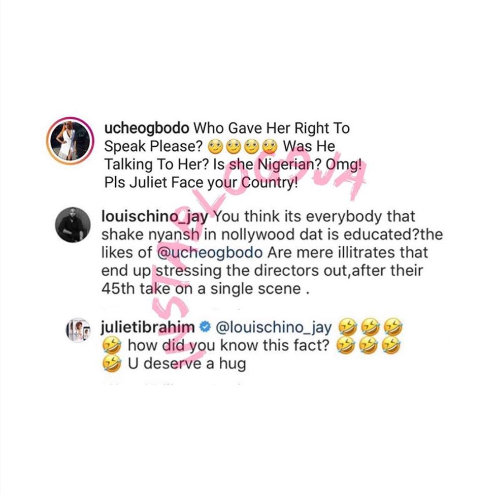 Juliet Ibrahim And Uche Ogbodo Clash On Instagram