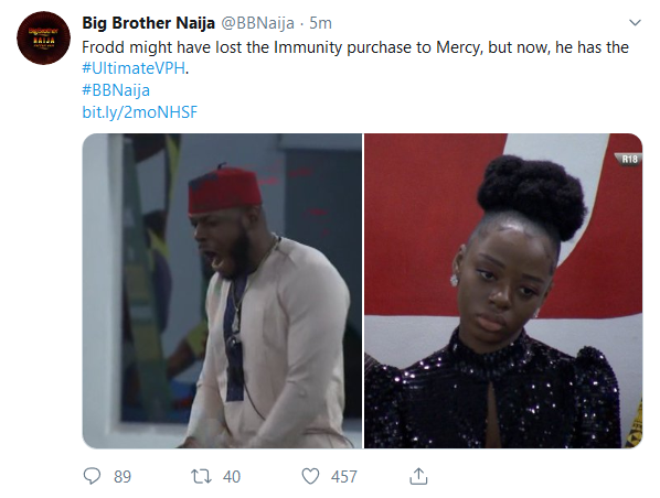 BBNaija 2019:- Frodd Wins Ultimate Vito Power