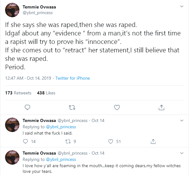 Even If The Allegation Is False, If A Lady Says She Was Raped She Was Raped – YBNL's Temmie Ovwasa 10