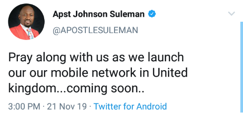 Apostle Suleman To Launch Mobile Network In The UK