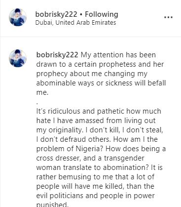 Bobrisky Breaks Silence After Prophetess Released Damning Prophecy Against Him 3