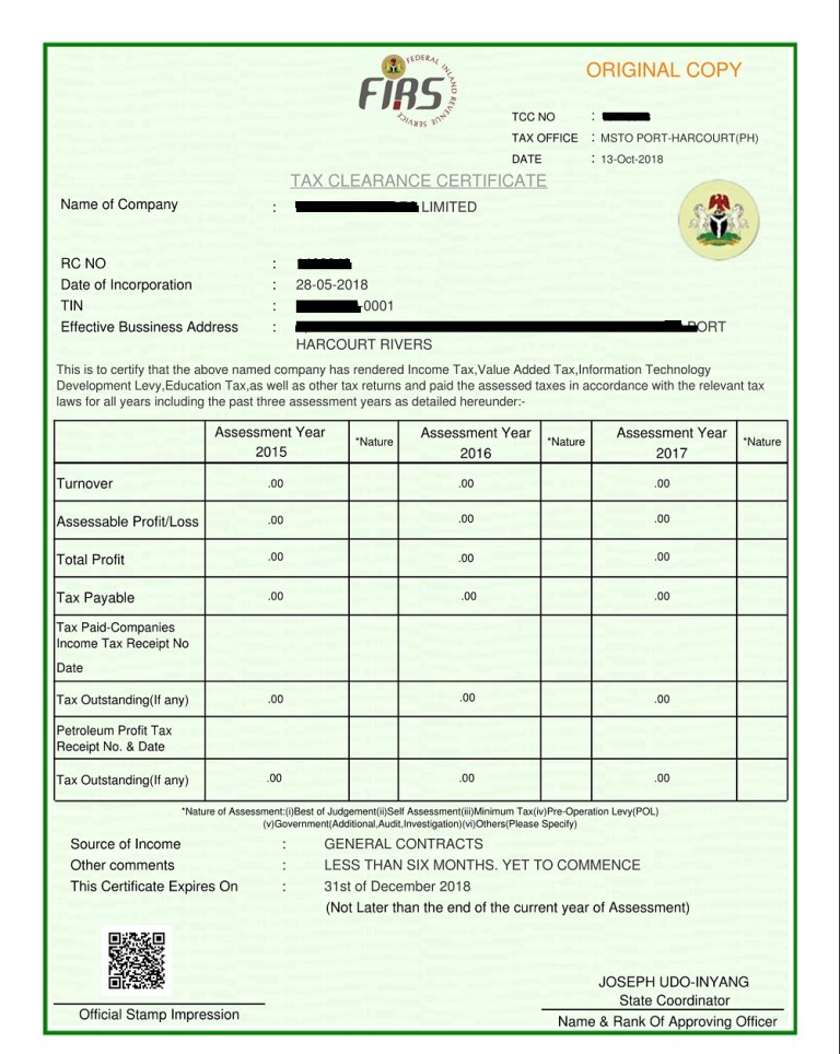 clearance certificate tax firs grace gives business revenue federal nairaland statement signed businesspost ng obtain announced agency nigeria