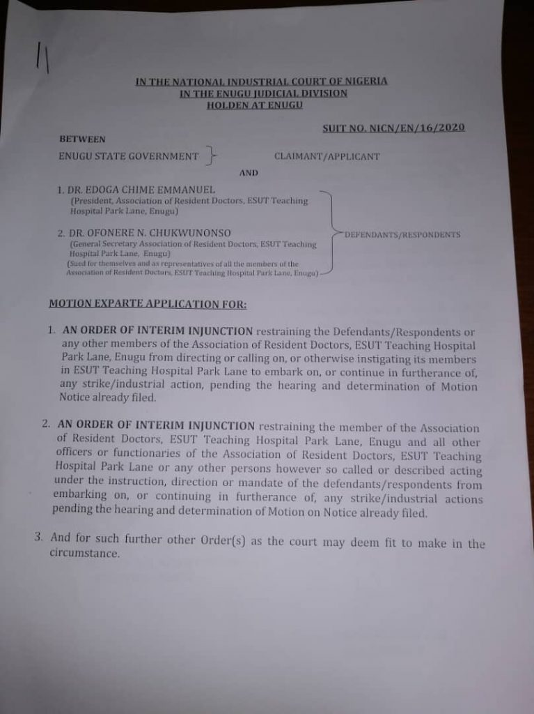 Court Restrains Resident Doctors In ESUT Teaching Hospital From Strike 8