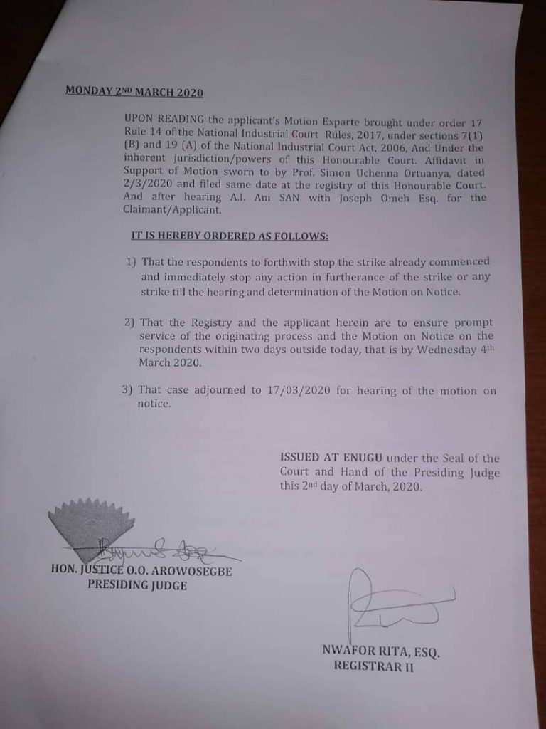 Court Restrains Resident Doctors In ESUT Teaching Hospital From Strike 9