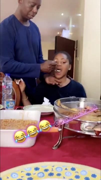 Ned Nwoko Spoon-Feeds Regina Daniels In Romantic Video