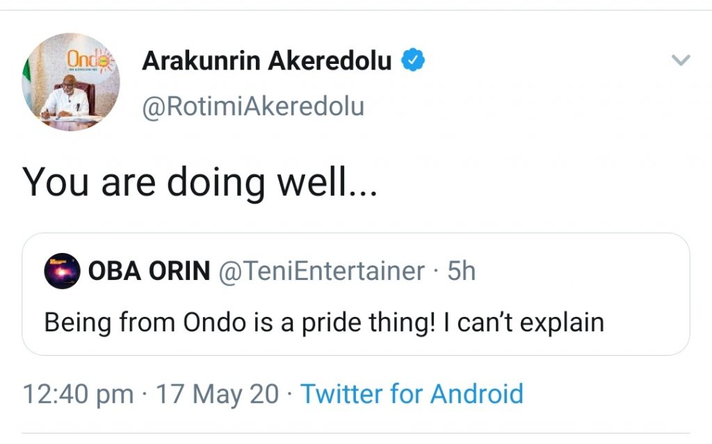 "Governor Akeredolu Tells Teni ""You Are Doing Well"""