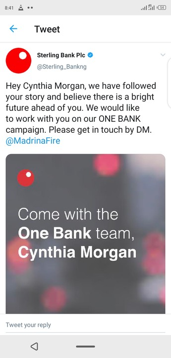 Sterling Bank To Work With Cynthia Morgan