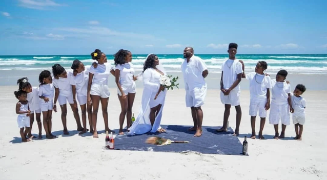 Couple Celebrates 15th Wedding Anniversary With Their 11 Children (See Beautiful Family Photos)