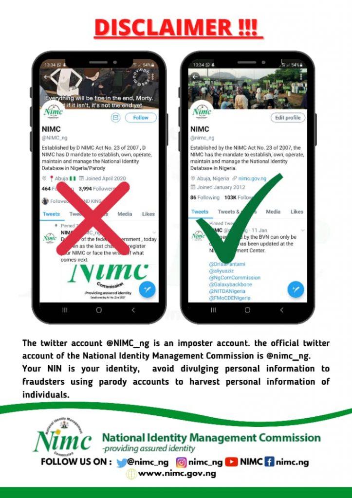 NIMC Disowns Fake Twitter Account