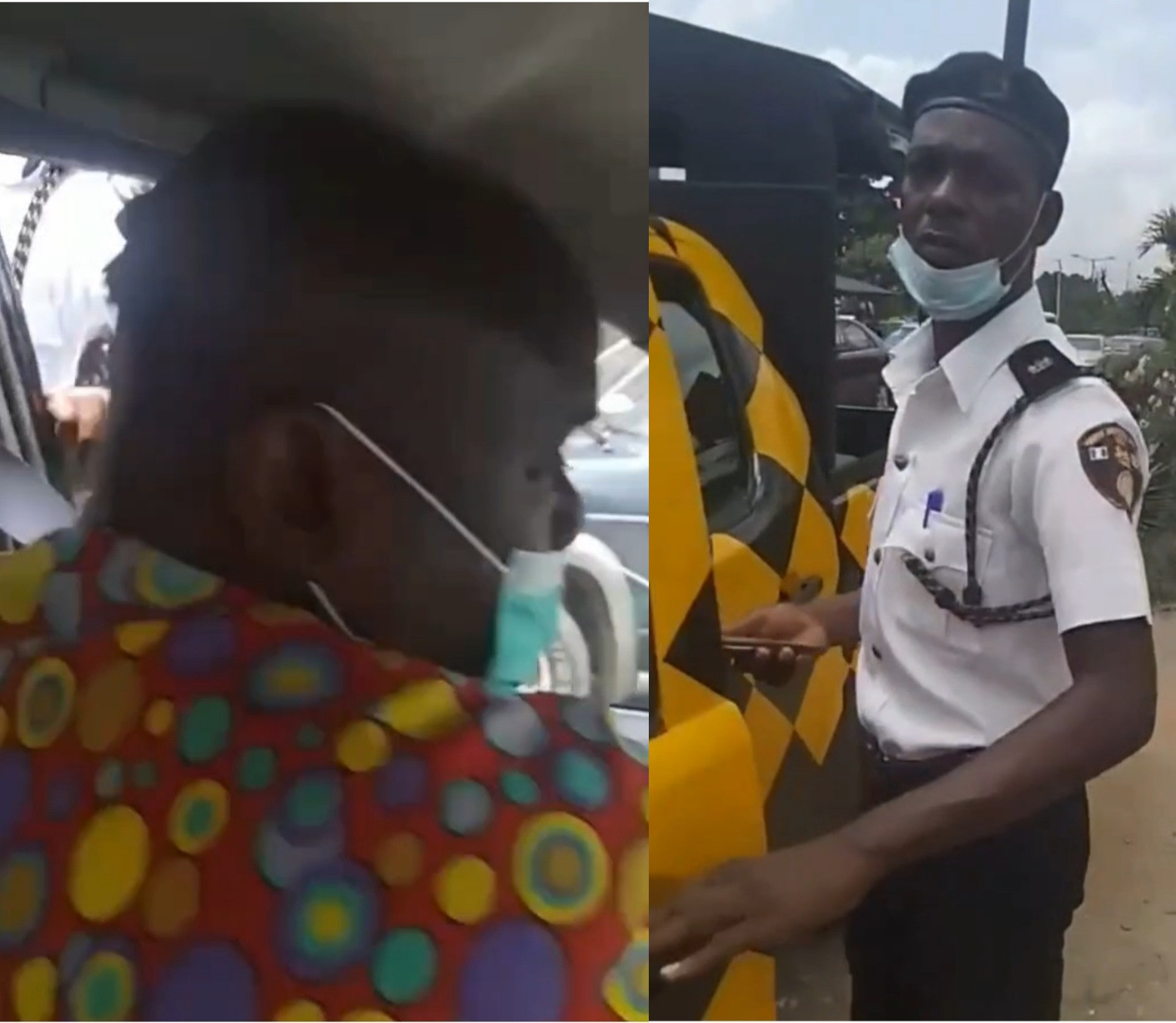 Drama As Nigerian Realtor Confronts VIO Officer Who Slapped Her Cab Driver In Lagos
