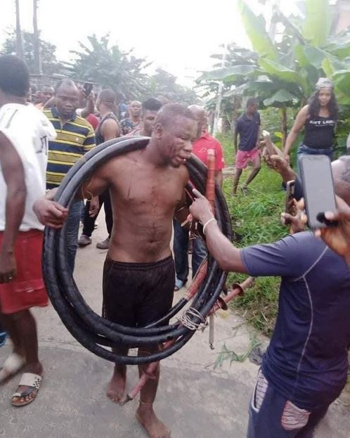 Man Brutalized And Paraded For Allegedly Stealing Transformer Cables In Akwa Ibom (Photos)